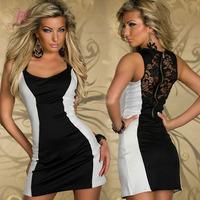 New Arrival Fashion Colorblocks Tank Mini Bodycon Mini Dresses Online White Rosy LC2872