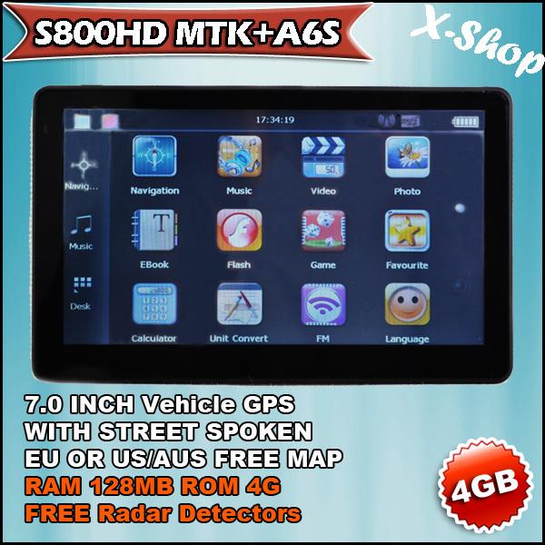 X-SHOP S800MTK+A6S 7 inch gps navigation & 4GB AUS/CA/US MAP& RAM 128MB Russia/Belarus/Ukraine/Brazil map(China (Mainland))