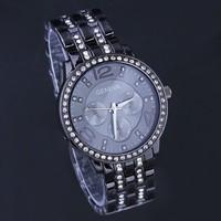 Free Shipping Cool Black Full Steel Women Dress Watches Luxury Blingbling Crystals GENEVA Bracelet Clock Quartz Relojes NW303