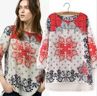 New Fashion Women Za2014 Long Sleeve V-Neck Rayon Blouses Casual Vintage Print Retro Sheer Shirts Lady Elegant Tops