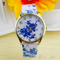 Geneva Fashion  Women  Watch Analog Elegant Flowers Pattern Quartz WristWatches 0385