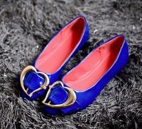 hot sale 2014 new autumn fashion metal heart-shaped bow Lady women flats female blue black flat heel casual women shoes brand