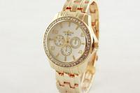 FreeShip Luxury Women Crystals Watches Europe Style Gold GEVENA Analog Bracelet Wristwatch Quartz Vogue Girls Dress Clock NW363