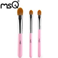50sets/lot MSQ 3pcs Pink Makeup Brush Set  For Travel Synthetic Hair Comestic Brush Tool Kit