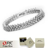 OPK JEWELRY Box Packing! Genuine Platinum Plated Mona Lisa AAA Zircon Crystal Bracelet Fashion European Women Party Jewelry, 936
