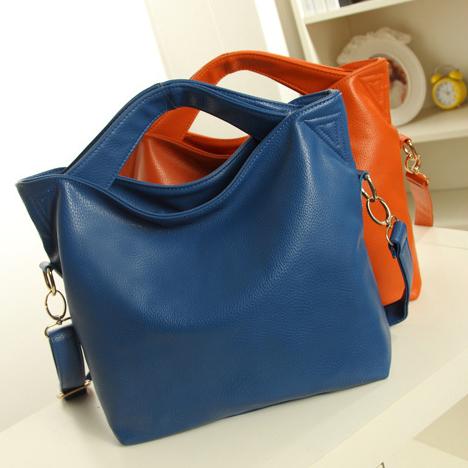 2014 women genuine leather handbag fashion women's shoulder bag handbag large bag cross-body leather bag pure color purse 11077(China (Mainland))