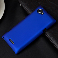 Luxury Rubber Matte Back Cover Hard Case for Sony Xperia L S36h C2104 C2105 2015 New Cell Phone Cases + Flim + Touch Stylus