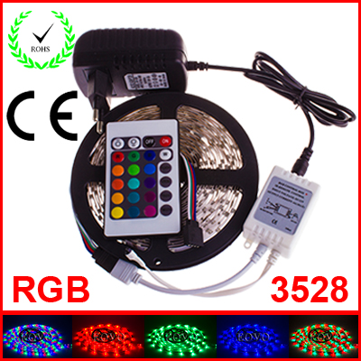 20 sets RGB LED Strip 5M 300Led 3528 SMD 24 Key IR Remote Controller Power Adapter Flexible Light Led Tape Home Decoration Lamps(China (Mainland))