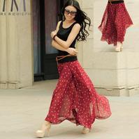 New 2015 Summer And Spring Bohemian Long Skirts Women Summer Beach Chiffon Maxi Skirts Polka Dot Pleated Skirt 3 Colors