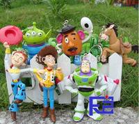 2014 New Hot Woody Buzz Lightyear Jessie Keychains PVC Action Figure Model Toys Dolls 6pcs/set