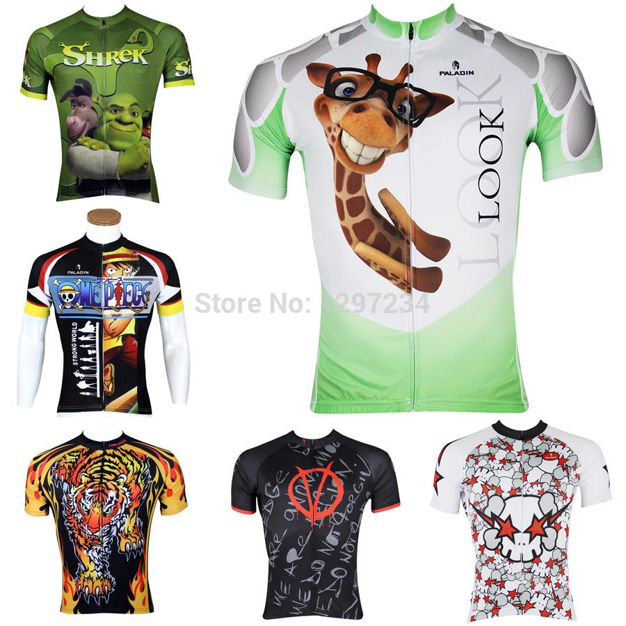 paladin 2014 men funny Luffy cycle jersey tiger biking jersey novlety shrek clothing giraffe bicycle shirt male's cycle gear(China (Mainland))