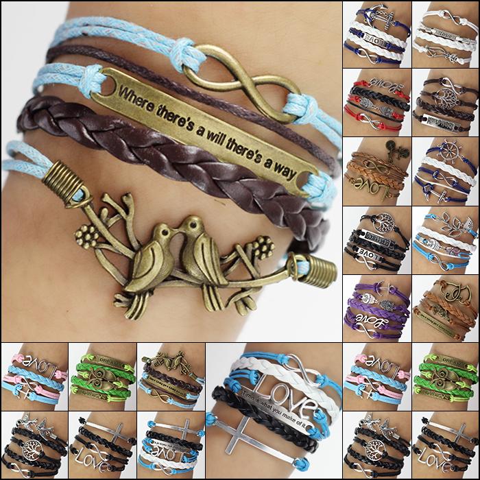 Hot Jewelry Vintage Braided Anchors Rudder Metal Leather Bracelet Multilayer Rope Bracelets Wrap Bracelets Wholesale Bangle(China (Mainland))