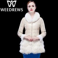 Women's Genuine Sheepskin Leather Down Coat Mongolian Fur Patchwork Black Long Slim Design Garment With Natural Fox Fur Collar