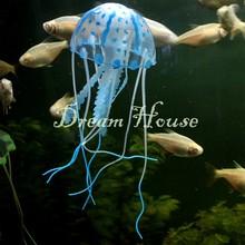 nuevo lindo fluorescente efecto brillante medusa artificial acuario pecera ornamento piscina de natación decoración de baño 18197 b12(China (Mainland))