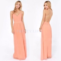 High Quality 2014 Sexy Women Bohemian Sleeveless Backless Ankle-Length Evening Cocktail Solid Party Long Dress B12 SV005207