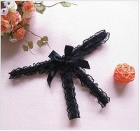 perspective Lace Sexy Women Open Thong Panties Sexy Ladies Black Knickers MIni Thong G String Bow set