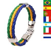 2014 Wholesale Lots High Quality  The Brazil World Cup Football Souvenir Bracelets Fashion Charm Leather Bracelet
