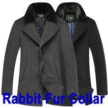 2014 Fashion Men Coats & Jackets Winter Rabbit Fur Collar Thick Men's Woolen Coat New Casual Wool & Blends Outdoors Overcoat 3XL(China (Mainland))