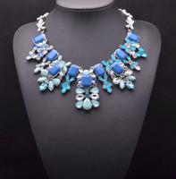 2014 Statement Choker Necklace Brand Vintage ZA NECKLACE Jewelry Flower Bib Blue SHOUROUK Necklaces & Pendants Women Collar 9028