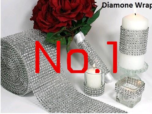 "Wedding decoration 4.75""x 1 Yards Silver DIAMOND MESH christmas RHINESTONE Crystal Ribbon party decoration free shipping(China (Mainland))"