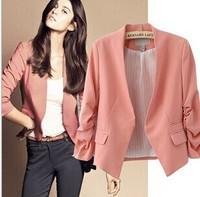 2014 New Spring Korea Women Candy Color Solid Slim Fold Sleeve Suit jacket women Blazer Coat#445