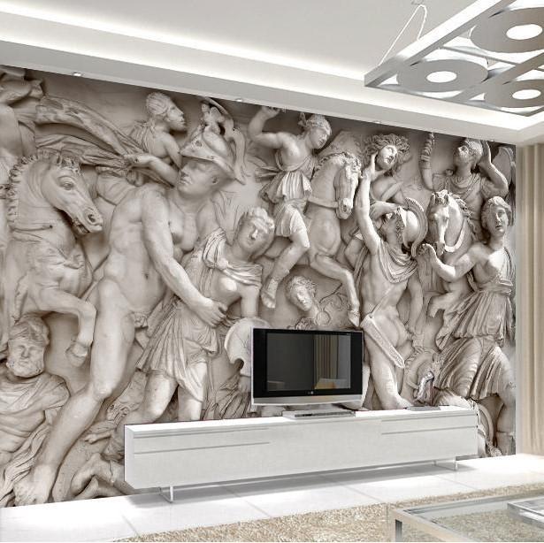 Custom photo wallpaper 3D European Roman statues art wallpaper restaurant retro sofa backdrop 3d wallpaper 3d mural wallpaper(China (Mainland))