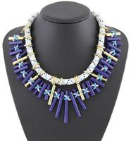 Christmas Gift Women Big-name Handmade Statement Exaggerate Satin Chain Chunky Shourouk Pendant Necklace R9001