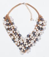 A1409 Newest Z high quality women fashion collar bib choker necklace jewelry statement pearl necklace & pendant  2014 women