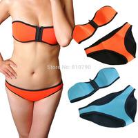 Hot Selling Sexy Cool Women Lady NEOPRENE BIKINI Bandeau Swimsuit Neoprene Swimwear Bikini Set Zipper Beachwear Bathing Suits