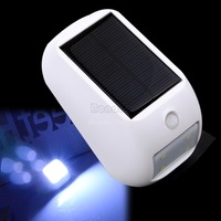 New 2014 Bulb Solar Power Panel 4X LED Fence Gutter Light Home Decor Outdoor Garden Yard Wall Lobby Pathway Lamp Cold white B6