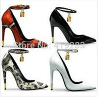 REAL PHOTO!Size 34-41Tip Stiletto Black Patent Leather Pumps Gold Padlock Pumps Ankle-strap Dress Shoes 13 Colors