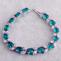 Wholesale Fashion Lady's 925 Silver Oval Cut Green Topaz & Tourmaline 925 Silver Bracelets Gorgeous Jewelry