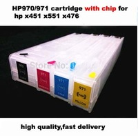 Free shipping 4pcs/set 970/971 Empty Refillable cartridge for HP officejet pro x451 x476 x551 x576 printers with chips