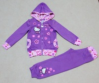 2 Colors!!Free shipping 4 sets/lot 4-7 Yrs Girl Hello kitty Terry Cotton Spring Hooded Jacket and Trousers 2 pieces Sport Suits