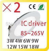 185~265V Ultra Thin Round LED Downlights Recessed LED Ceiling Panel Lamps LED 3W 4W 6W 9W 12W 15W 18W 24W