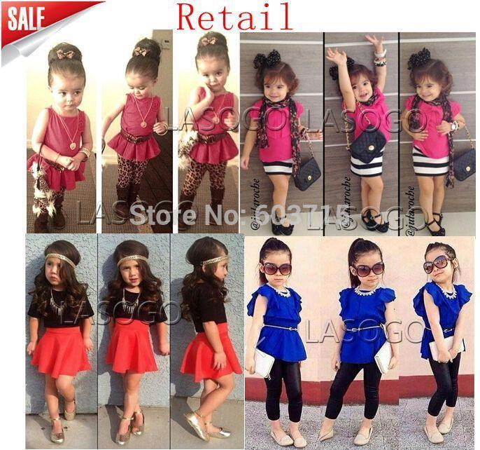 Détail, 2014 arrivée de nouveaux enfants filles top rouge avec flower+leopard pantalons 2 pieces chiffon enfants ensemble de vêtements pour enfants costume