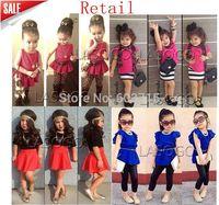 Retail 2014 new arrive children girls red top with flower+Leopard pants 2pcs set  children cloth set children clothing suit