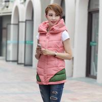 Spring New 2014 Fashion Brand Women Clothing  V-Neck Vest Women Top Quality Blazer Vests Black/Pink S M L