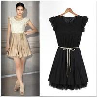 Women Lace Chiffon Casual Dress 2015 New Spring Summer Desigual Retro OL Cute Dresses Vestidos de renda