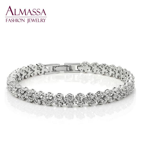Fashion Bridal Jewelry Platinum Plated AAA+ Cubic Zirconia Diamond Roman Women Chain Bracelet & Bangle Suit For Wedding(China (Mainland))