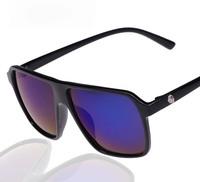Free shipping 2014 fashion skull logo classcial reflective mirror UV protection sunglasses mercury women sunglasses