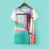 2014 Fashion Women Lady's NOVEL Abstract art print cotton o-neck tunic Gothic Summer Casual Style Solid Color T-SHIRT