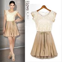 Women Summer Lace Floral Chiffon Casual Dress New 2014 Autumn  Retro Vestidos Ladies Office Cute Novelty Dresses
