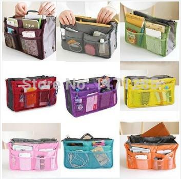 Bag In Bag,Double Zipper Portable Multifunctional Travel Pockets Handbag Storage Bag,Fadish Travel Cosmetic Makeup Wash Bag(China (Mainland))