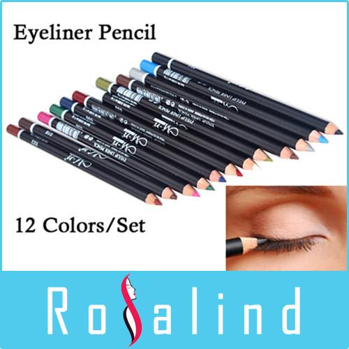 Rosalind (Limited Quantity Sale)12 Colors Eye Makeup Eyeliner Pencil Waterproof Eyebrow Beauty Pen Eye Liner sticks Cosmetics(China (Mainland))