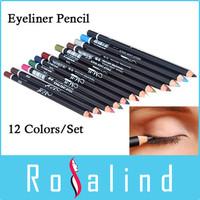 Rosalind 12 Colors  Eye Makeup Eyeliner Pencil Waterproof Eyebrow Beauty Pen Eye Liner  Cosmetics M2121-2
