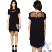 2014 Women Summer Dress Ladies Loose Perspective Sheer Hollow Slim Package Hip Casual Mini Party Dresses Vestidos De Festa 05204