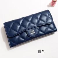 Fashion Plaid genuine leather C** Brand wallets purse women clutch(Black Blue Pink White Silver)