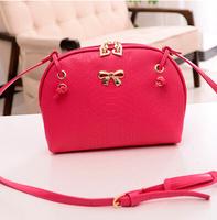 Hot sale new 2014 fashion bow crocodile small girls crossbody shoulder handbags plaid high quality desigual women messenger bag