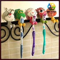 5 Pcs / Lot Cute Cartoon Animal Sucker Toothbrush Holder / Suction Hooks Hot sale Free Shipping CM-HD0087